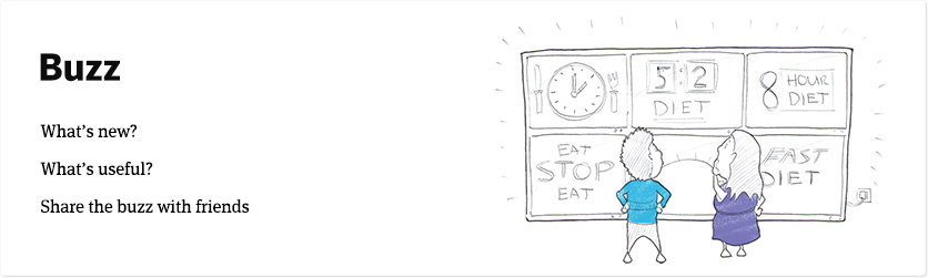 What's the buzz? Fasting tips, funnies and more to share with your friends.